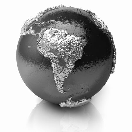 Silver globe - metal earth with realistic topography - south america; 3d render photo
