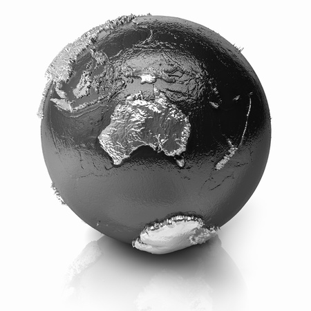 Silver globe - metal earth with realistic topography - australia, 3d render photo