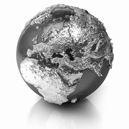 Silver globe - metal earth with realistic topography - europe, 3d render Stock Photo - 9970031