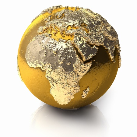bronze: Gold globe with realistic topography and light reflections, metal earth - africa, 3d render Stock Photo
