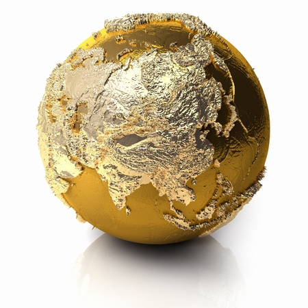 Gold globe with realistic topography and light reflections, metal earth - asia, 3d render