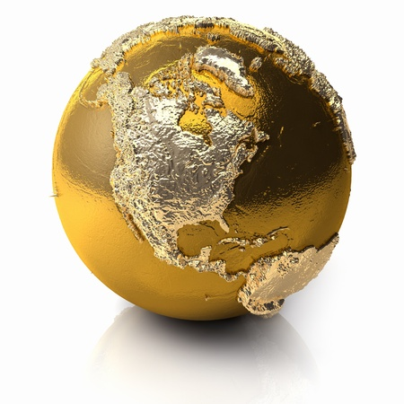 Gold globe with realistic topography and light reflections, metal earth - north america, 3d render