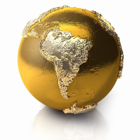 Gold globe with realistic topography and light reflections, metal earth - south america, 3d render
