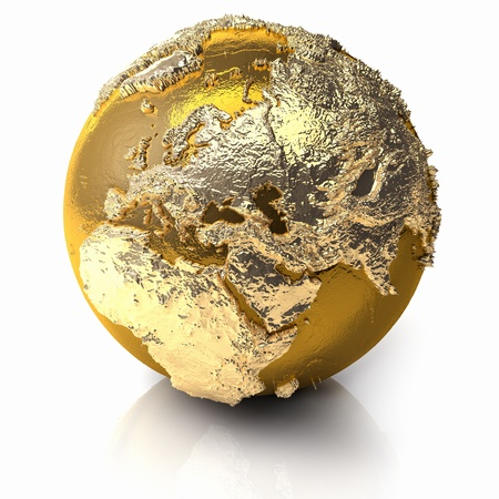 3d planets: Gold globe with realistic topography and light reflections, metal earth - europe, 3d render Stock Photo