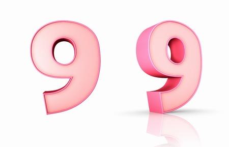 numero nueve: 3d rosa número nueve, aisladas sobre fondo blanco, 9
