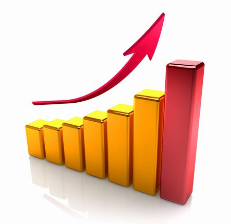 upward graph: Golden graph with one red bar and arrow pointing upward, shine and reflection Stock Photo