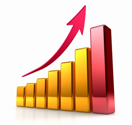 Golden chart with one red bar and arrow pointing upward, shine and light reflection Stock Photo