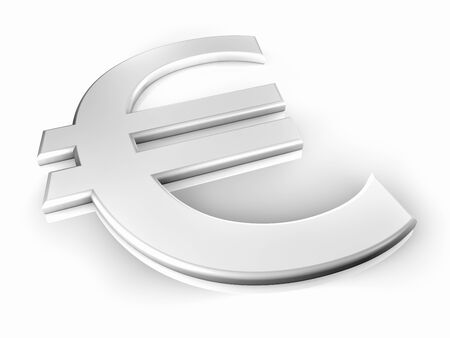 convex: White euro sign on white background, shine and reflection, 3d render
