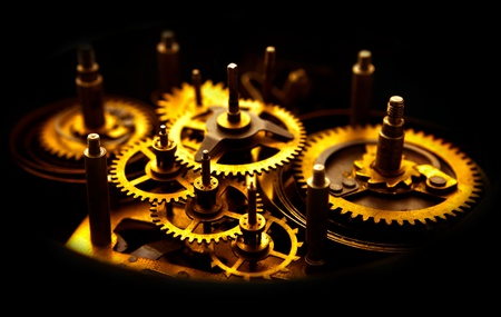 clock gears: Old golden gears from an old clock