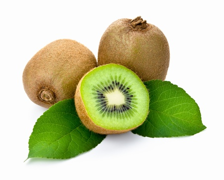 Kiwi fruit with leaves on white background Stock Photo
