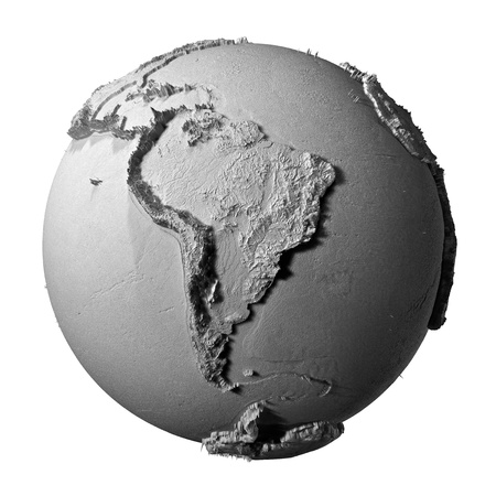 Realistic model of planet earth isolated on white background - south america, 3d illustration