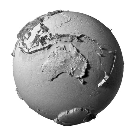 gypsum: Realistic model of planet earth isolated on white background - australia, 3d illustration Stock Photo