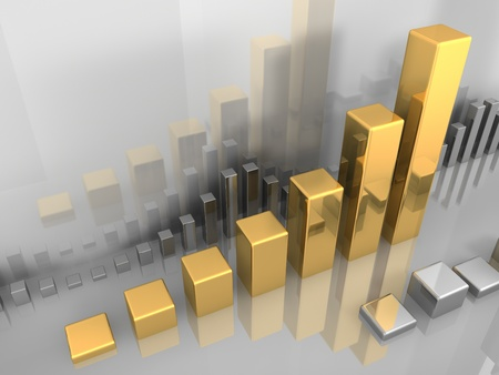 Abstract visualization of stock market chart, gold and silver, 3d illustration illustration