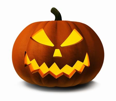 cucurbit: Scary Jack O Lantern halloween pumpkin, 3d illustration Stock Photo