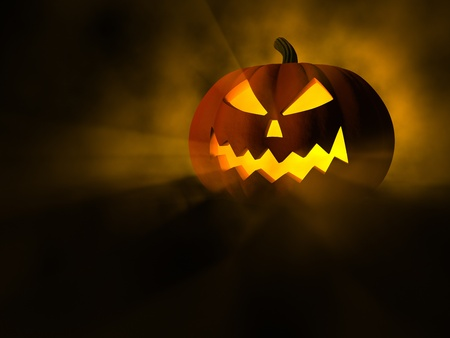 3d scary: Jack O Lantern, scary halloween pumpkin, 3d illustration