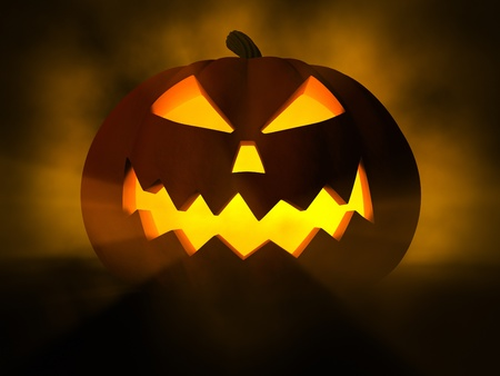 Scary Jack O Lantern halloween pumpkin, 3d illustration Stock Photo