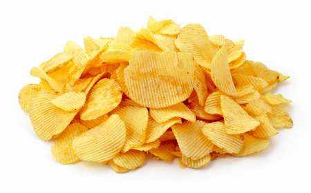 crispy: Pile of potato chips on white background Stock Photo