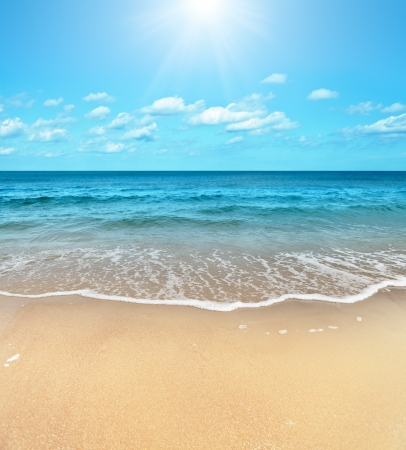 Perfect sandy beach in hot summer day