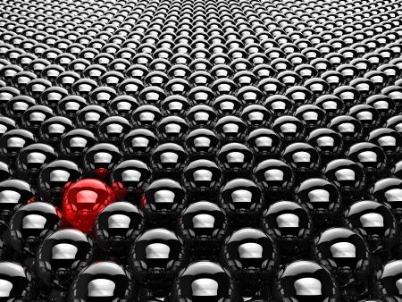 Viel Chrom schwarzen Kugeln mit einem roten, 3d render Standard-Bild
