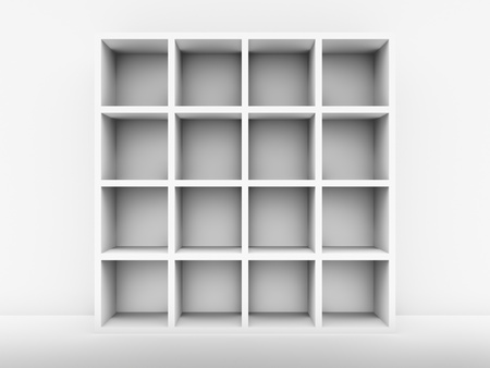 White bookshelf next to the white wall, 3d render photo