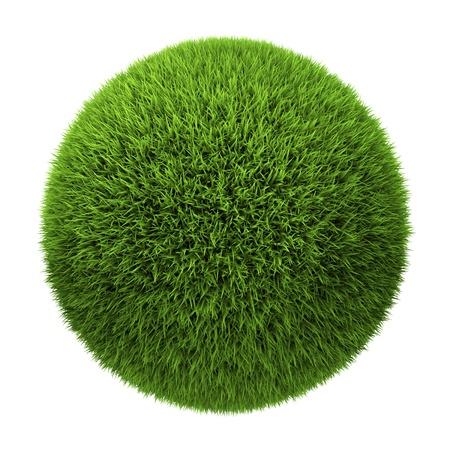 Grass Ball auf weißem Hintergrund, 3d render isoliert Lizenzfreie Bilder
