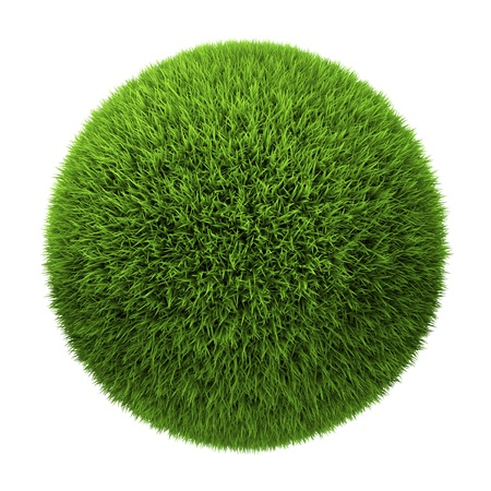 Grass ball isolated on white background, 3d render