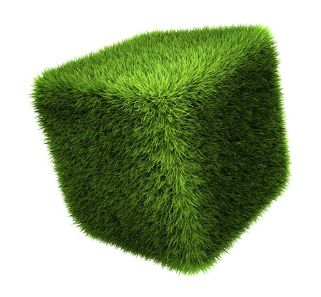 Grass cube isolated on white background, 3d render Zdjęcie Seryjne