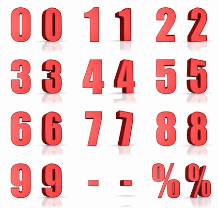 3d red numbers with percent and minus sign photo