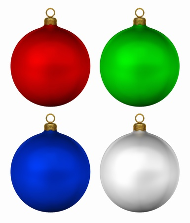 christmas bulbs: Generic christmas baubles isolated on white background, 3d render