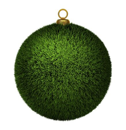 Grass christmas bauble isolated on white background, ecology concept 3d render photo