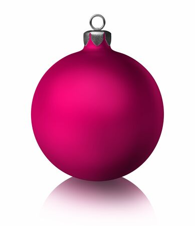 Pink christmas bauble on white background. 3d render Stock Photo - 11755278