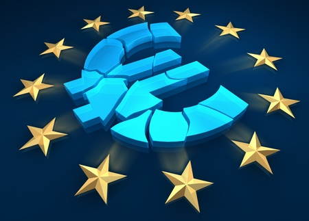 Disintegration of the eurozone. Gold stars are fleeing from the euro symbol. 3d render