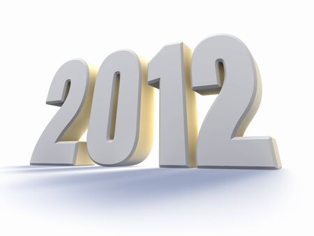 Year 2012, large white number with backlit, 3d render Stock Photo - 11755279