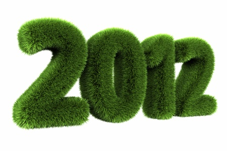 Grass year 2012, large grassy number. 3d render photo