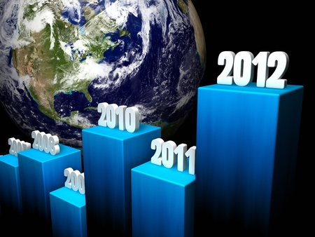 onward: Chart of the global gains in 2012, North America in the background Stock Photo
