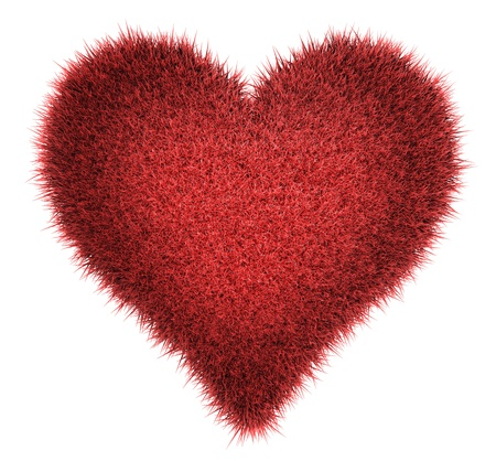doormat: Red carpet in the shape of a heart isolated on white background, 3d render