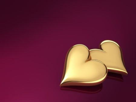 Two gold hearts on a violet background, 3d render photo