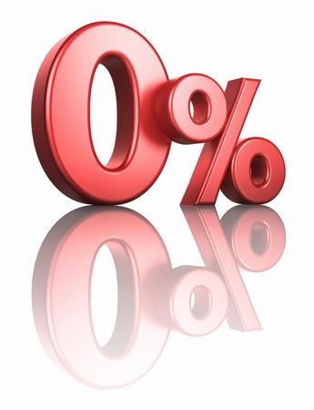 Glänzend rote Null Prozent auf weißem Hintergrund mit Spiegel Stock, rendern 3D 0%
