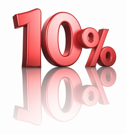 percentage sign: Glossy red ten percent on white background with mirror floor, 3d render 10%