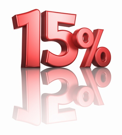 percentage sign: Glossy red fifteen percent on white background with mirror floor, 3d render 15%