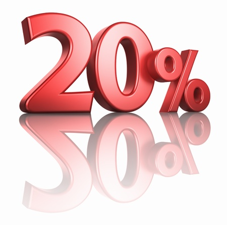 percentage sign: Glossy red twenty percent on white background with mirror floor, 3d render 20% Stock Photo
