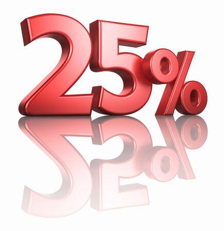 twenty five: Brillante de color rojo veinticinco por ciento sobre fondo blanco con piso de espejo, 3d hacer el 25%