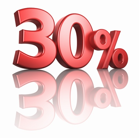 percentage sign: Glossy red thirty percent on white background with mirror floor, 3d render 30%