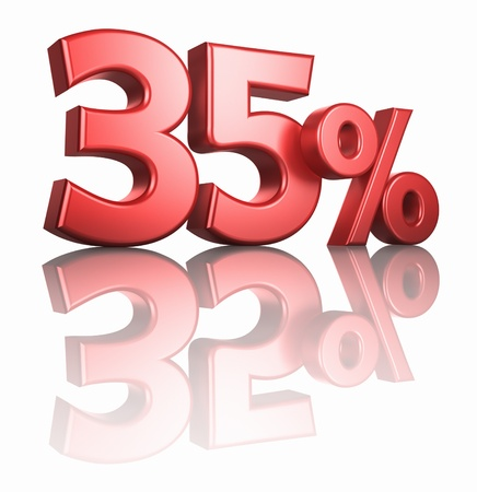 reduction: Glossy red thirty five percent on white background with mirror floor, 3d render 35%