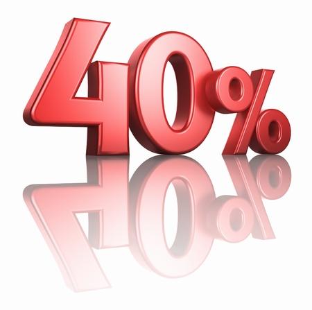 Glänzend rot 40 Prozent auf weißem Hintergrund mit Spiegel Stock, machen 40% 3d