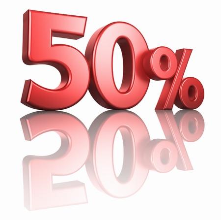 Glossy red 50 Prozent auf weißem Hintergrund mit Spiegel Stock, 3d render 50% Standard-Bild