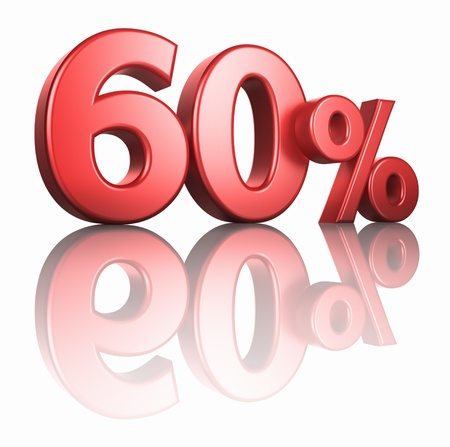 Glossy red sixty percent on white background with mirror floor, 3d render 60% Stock Photo - 13034691