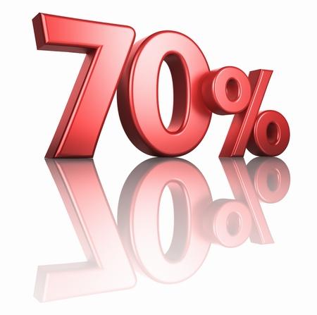 seventy: Glossy 70 per cento rosso su sfondo bianco con pavimento a specchio, 3d render del 70% Archivio Fotografico