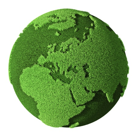 Grass Globe - Europe, isolated on white background  3d render