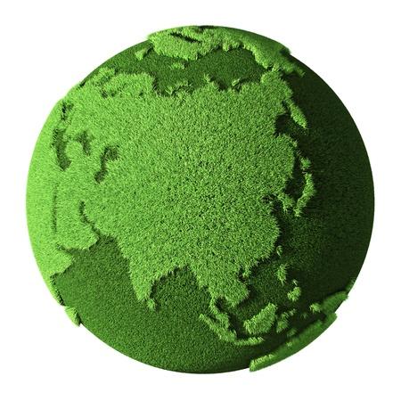 weltkugel asien: Grass Globe - Asien, auf wei�em Hintergrund 3d render isoliert Lizenzfreie Bilder